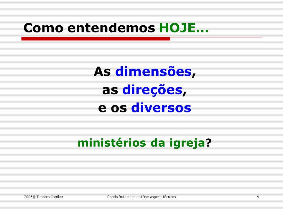 2006@ Timóteo CarrikerDando fruto no ministério: aspects técnicos9 As dimensões, as direções, e os diversos ministérios da igreja.