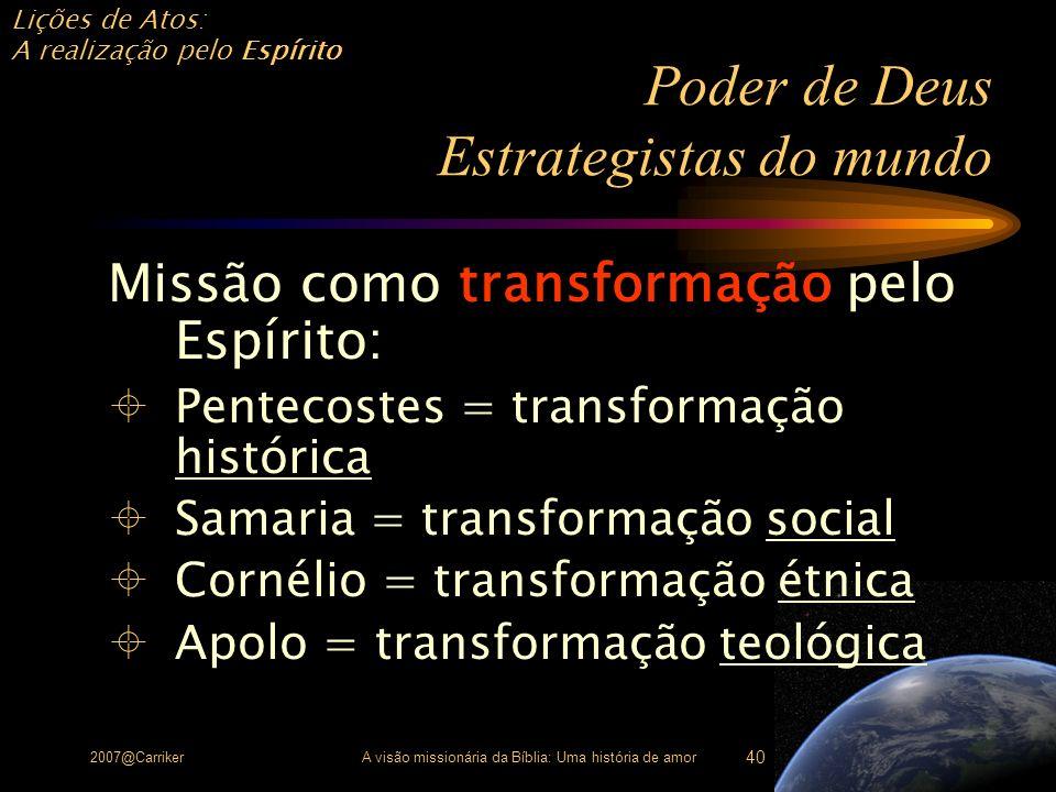 Lições de Atos: A realização pelo Espírito 2007@CarrikerA visão missionária da Bíblia: Uma história de amor 40 Poder de Deus Estrategistas do mundo Mi