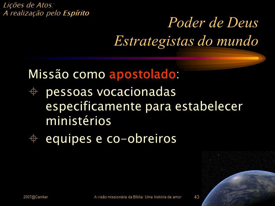 Lições de Atos: A realização pelo Espírito 2007@CarrikerA visão missionária da Bíblia: Uma história de amor 43 Poder de Deus Estrategistas do mundo Mi