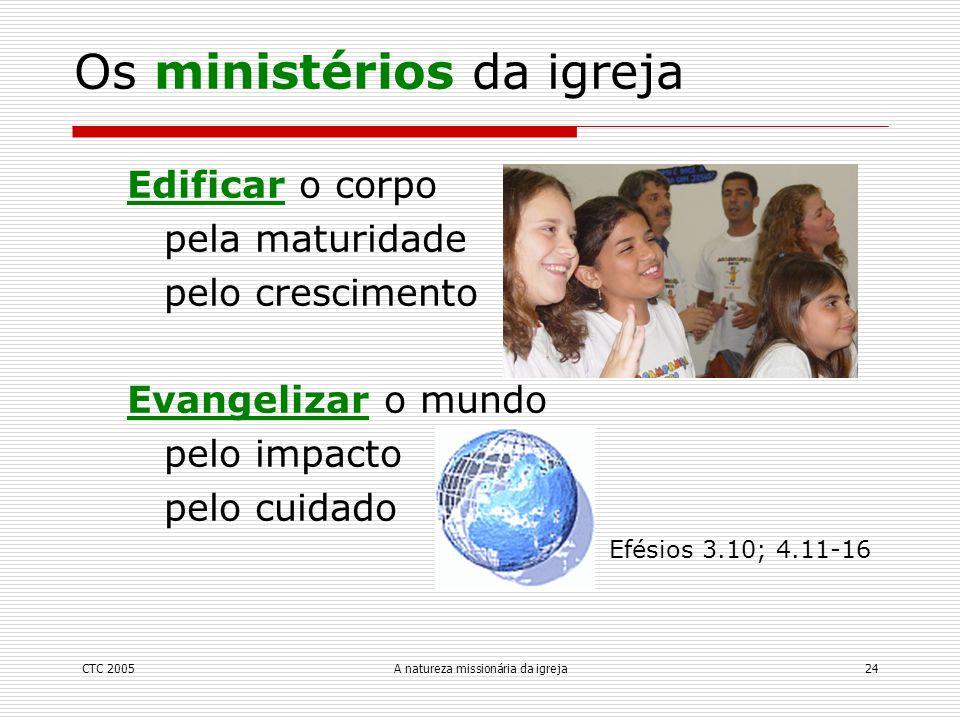 CTC 2005A natureza missionária da igreja24 Edificar o corpo pela maturidade pelo crescimento Evangelizar o mundo pelo impacto pelo cuidado Efésios 3.1