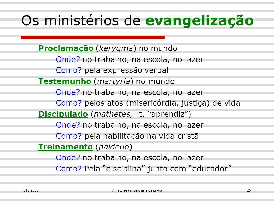 CTC 2005A natureza missionária da igreja26 Os ministérios de evangelização Proclamação (kerygma) no mundo Onde? no trabalho, na escola, no lazer Como?