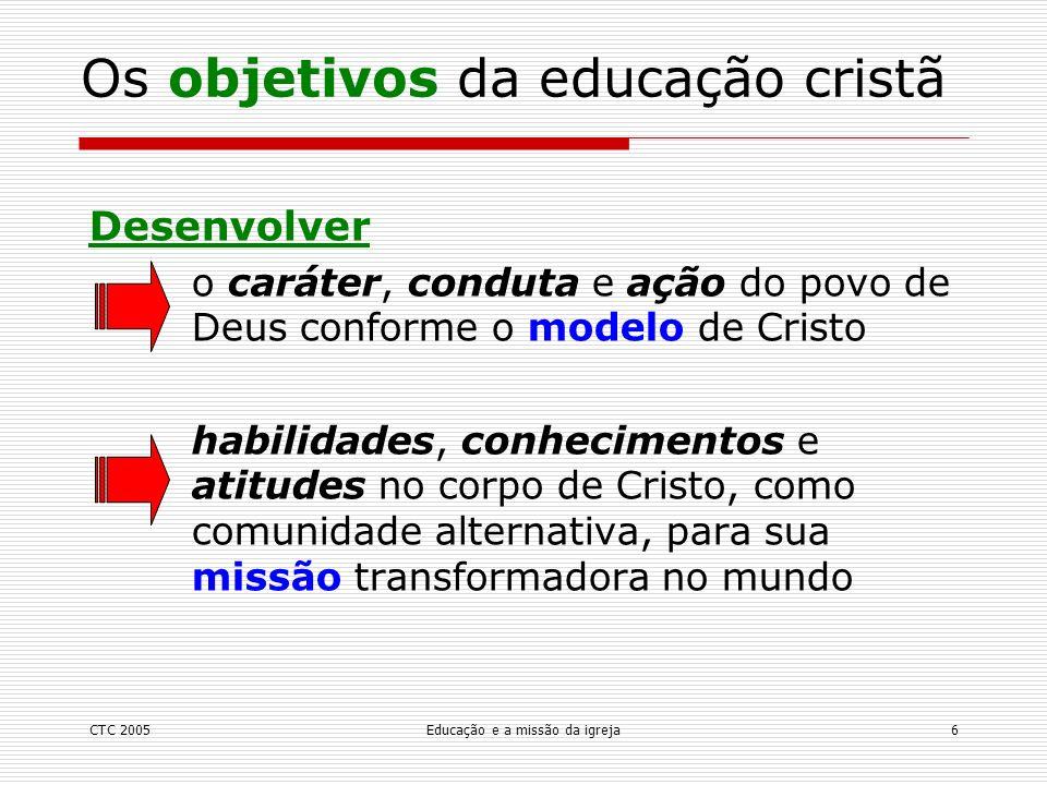 CTC 2005Educação e a missão da igreja7 A glória de Deus.