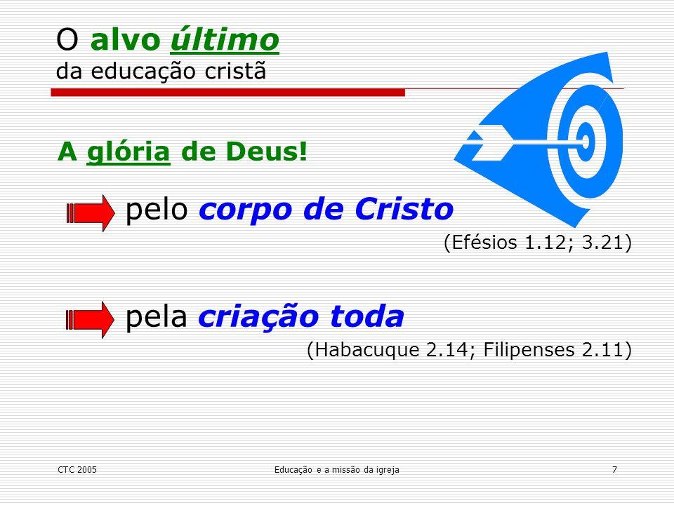 CTC 2005Educação e a missão da igreja8 Crescimento do corpo de Cristo (Efésios 4.13) na unidade: da fé na maturidade: modelo de Cristo de tudo (Efésios 4.15) pela expansão do reino de Deus pelo conhecimento da glória de Deus O alvo penúltimo da educação cristã