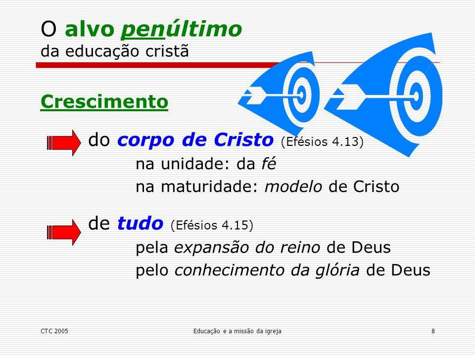 CTC 2005Educação e a missão da igreja9 O alvo antepenúltimo da educação cristã Ministério: edificar o corpo de Cristo para evangelizar o mundo para