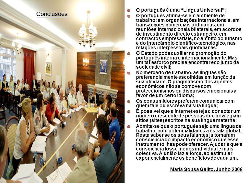 O português é uma Língua Universal; O português afirma-se em ambiente de trabalho: em organizações internacionais, em transacções comerciais ordinária