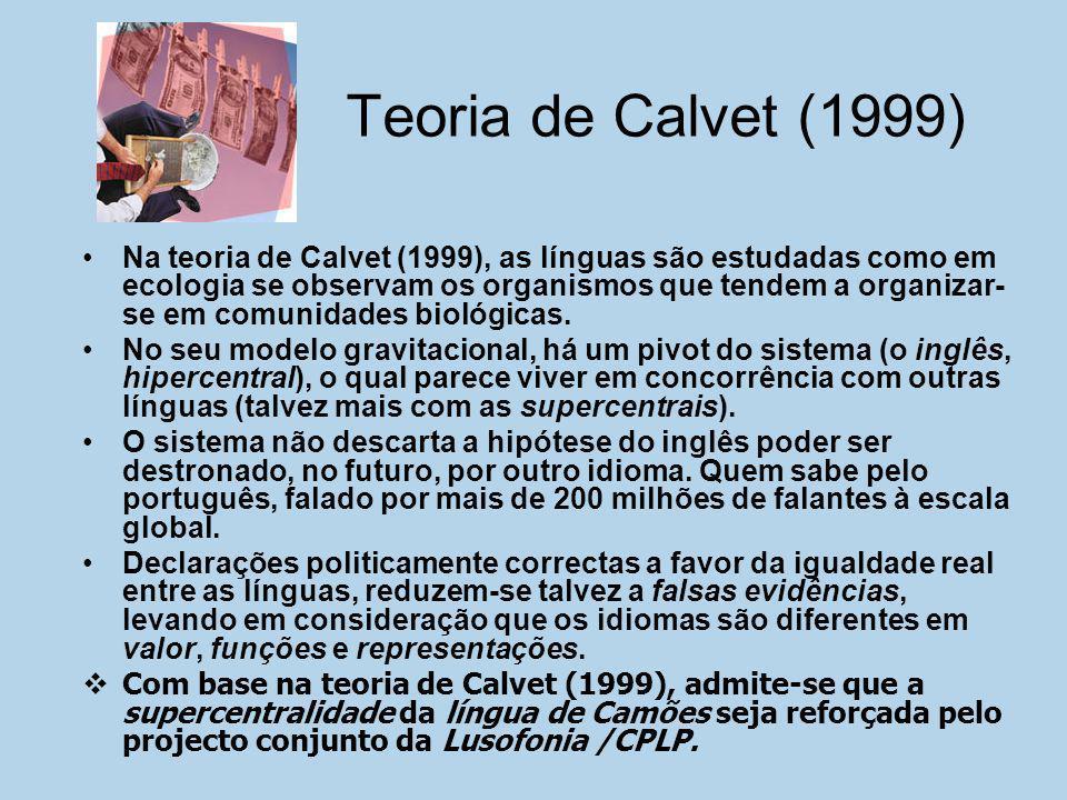Teoria de Calvet (1999) Na teoria de Calvet (1999), as línguas são estudadas como em ecologia se observam os organismos que tendem a organizar- se em
