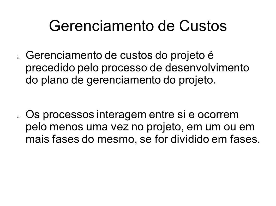 Gerenciamento de custos do projeto é precedido pelo processo de desenvolvimento do plano de gerenciamento do projeto. Os processos interagem entre si