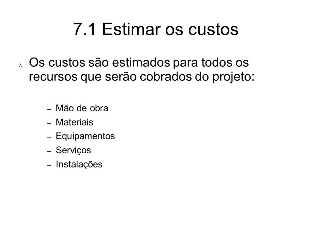 7.1 Estimar os custos Os custos são estimados para todos os recursos que serão cobrados do projeto: Mão de obra Materiais Equipamentos Serviços Instal