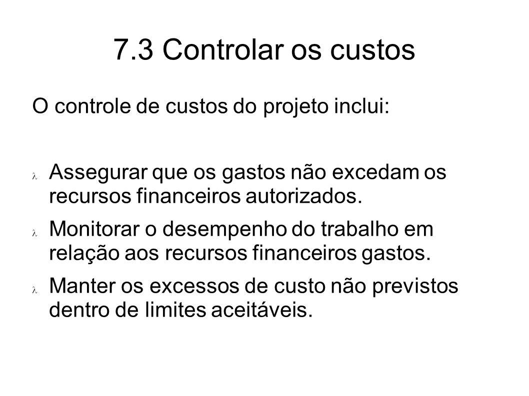 7.3 Controlar os custos O controle de custos do projeto inclui: Assegurar que os gastos não excedam os recursos financeiros autorizados. Monitorar o d