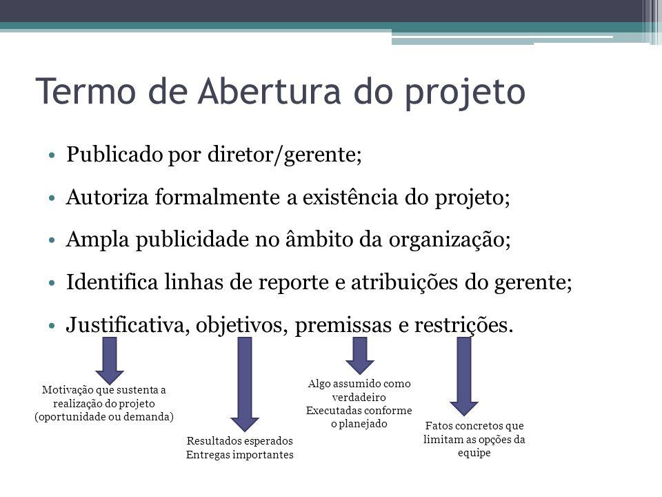 Termo de Abertura do projeto Publicado por diretor/gerente; Autoriza formalmente a existência do projeto; Ampla publicidade no âmbito da organização; Identifica linhas de reporte e atribuições do gerente; Justificativa, objetivos, premissas e restrições.