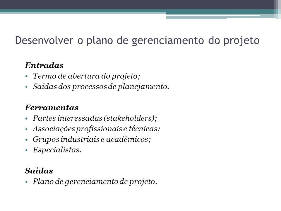 Desenvolver o plano de gerenciamento do projeto Entradas Termo de abertura do projeto; Saídas dos processos de planejamento.
