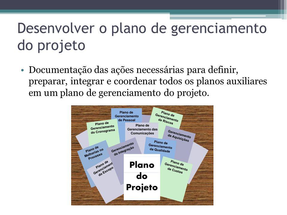 Desenvolver o plano de gerenciamento do projeto Documentação das ações necessárias para definir, preparar, integrar e coordenar todos os planos auxiliares em um plano de gerenciamento do projeto.