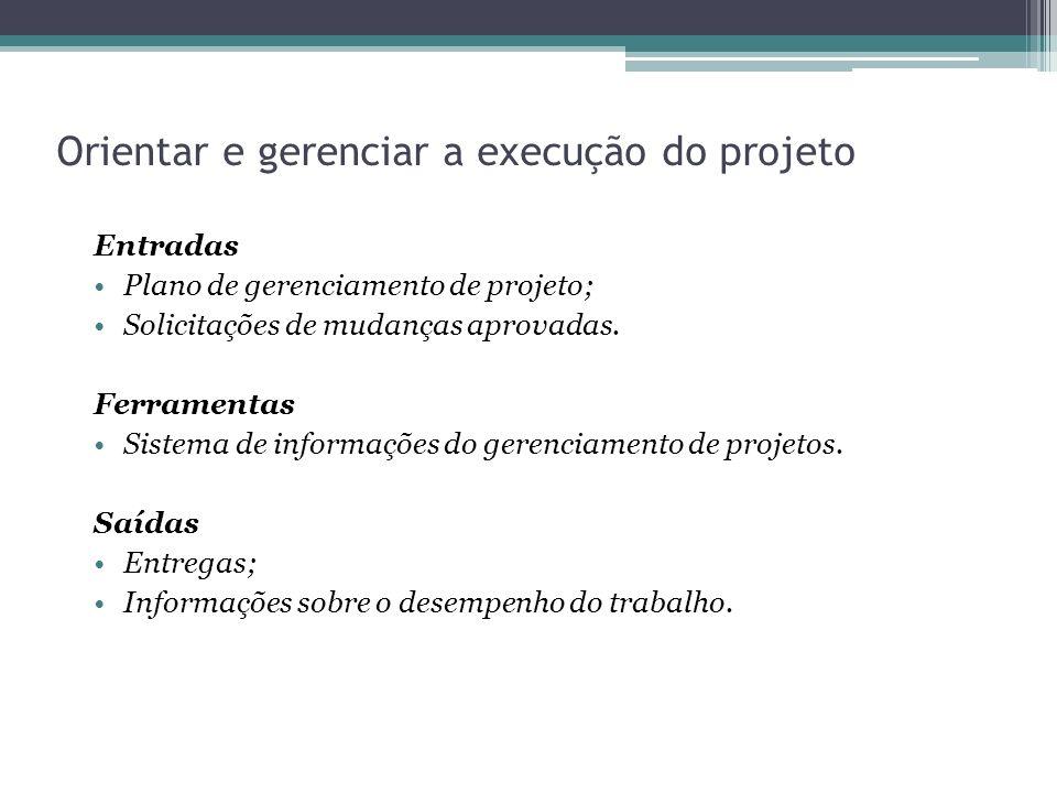 Orientar e gerenciar a execução do projeto Entradas Plano de gerenciamento de projeto; Solicitações de mudanças aprovadas.