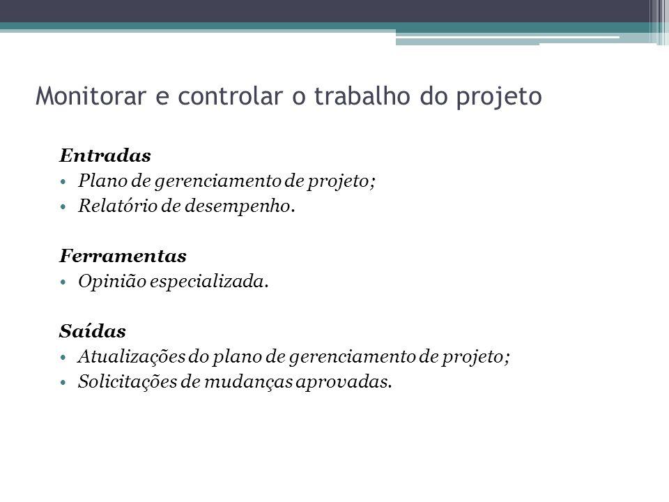 Monitorar e controlar o trabalho do projeto Entradas Plano de gerenciamento de projeto; Relatório de desempenho.