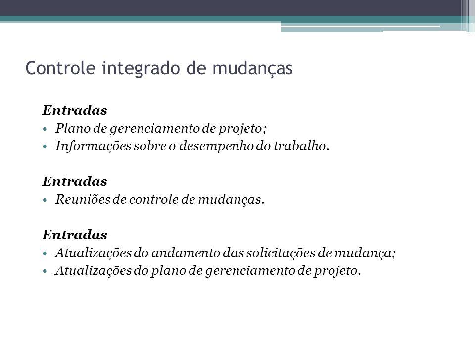 Controle integrado de mudanças Entradas Plano de gerenciamento de projeto; Informações sobre o desempenho do trabalho.