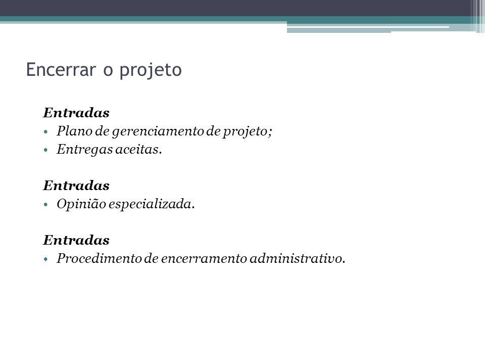 Encerrar o projeto Entradas Plano de gerenciamento de projeto; Entregas aceitas.