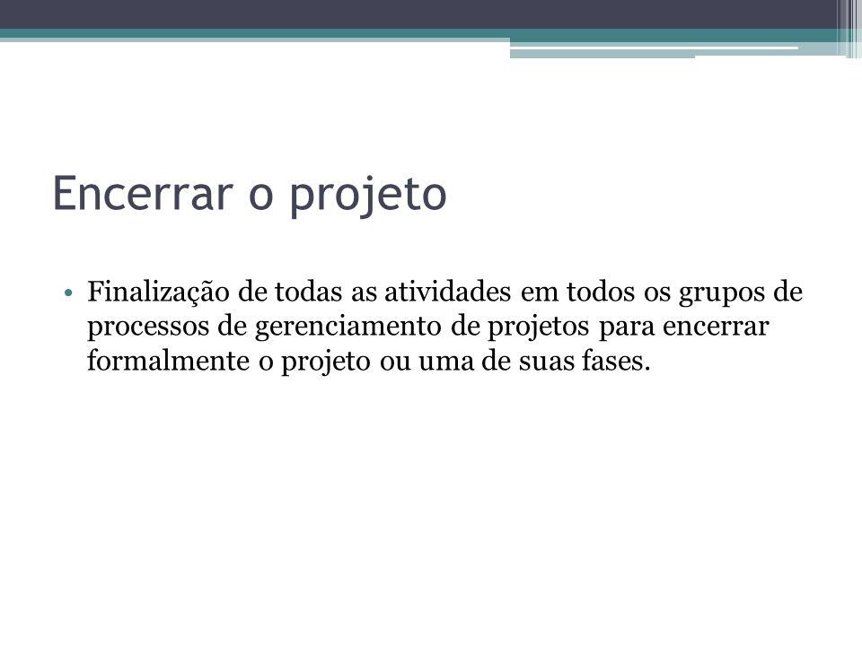 Encerrar o projeto Finalização de todas as atividades em todos os grupos de processos de gerenciamento de projetos para encerrar formalmente o projeto ou uma de suas fases.
