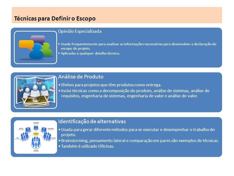 Técnicas para Definir o Escopo Opinião Especializada Usada frequentemente para analisar as informações necessárias para desenvolver a declaração do escopo do projeto.