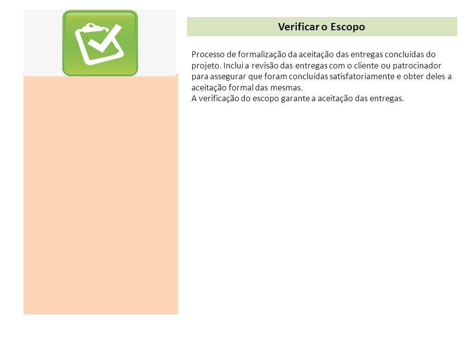 Verificar o Escopo Processo de formalização da aceitação das entregas concluídas do projeto. Inclui a revisão das entregas com o cliente ou patrocinad