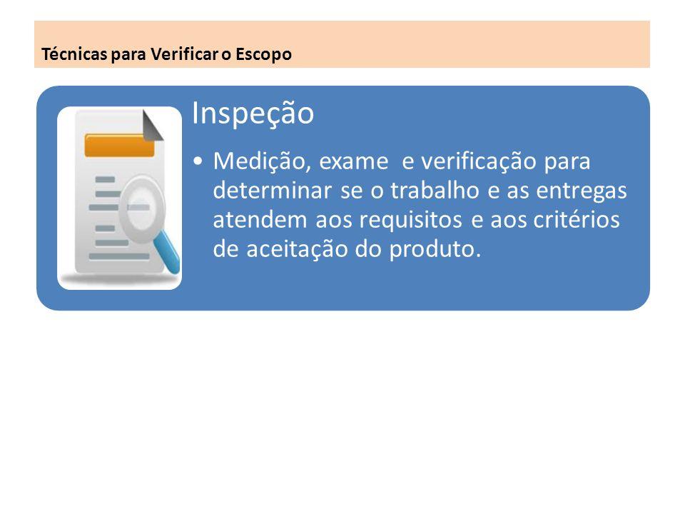 Técnicas para Verificar o Escopo Inspeção Medição, exame e verificação para determinar se o trabalho e as entregas atendem aos requisitos e aos critérios de aceitação do produto.