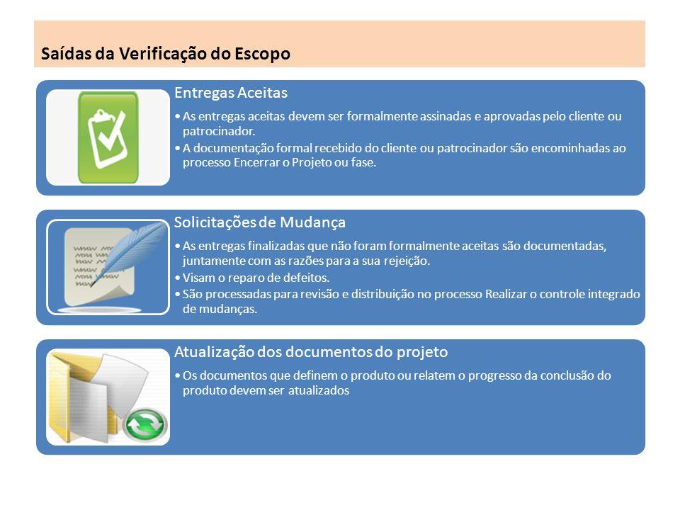 Saídas da Verificação do Escopo Entregas Aceitas As entregas aceitas devem ser formalmente assinadas e aprovadas pelo cliente ou patrocinador.