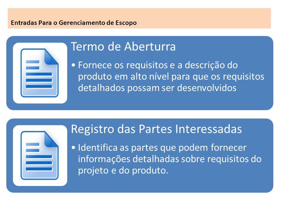Termo de Aberturra Fornece os requisitos e a descrição do produto em alto nível para que os requisitos detalhados possam ser desenvolvidos Registro das Partes Interessadas Identifica as partes que podem fornecer informações detalhadas sobre requisitos do projeto e do produto.