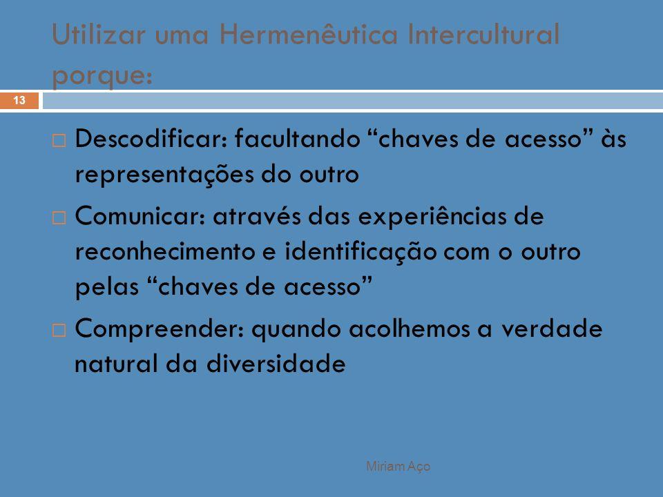 Miriam Aço 13 Descodificar: facultando chaves de acesso às representações do outro Comunicar: através das experiências de reconhecimento e identificaç