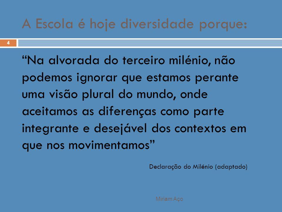 Miriam Aço 4 Na alvorada do terceiro milénio, não podemos ignorar que estamos perante uma visão plural do mundo, onde aceitamos as diferenças como par