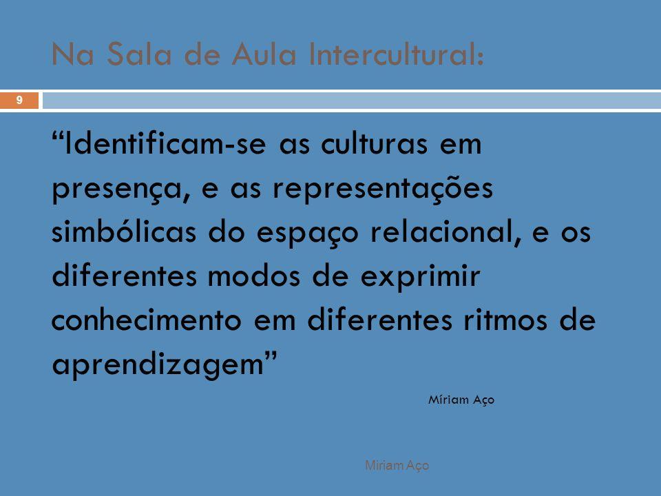 Miriam Aço 9 Identificam-se as culturas em presença, e as representações simbólicas do espaço relacional, e os diferentes modos de exprimir conhecimen