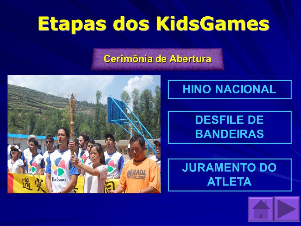 Etapas dos KidsGames Cerimônia de Abertura Cerimônia de Abertura Cerimônia de Abertura Cerimônia de Abertura HINO NACIONAL DESFILE DE BANDEIRAS JURAME
