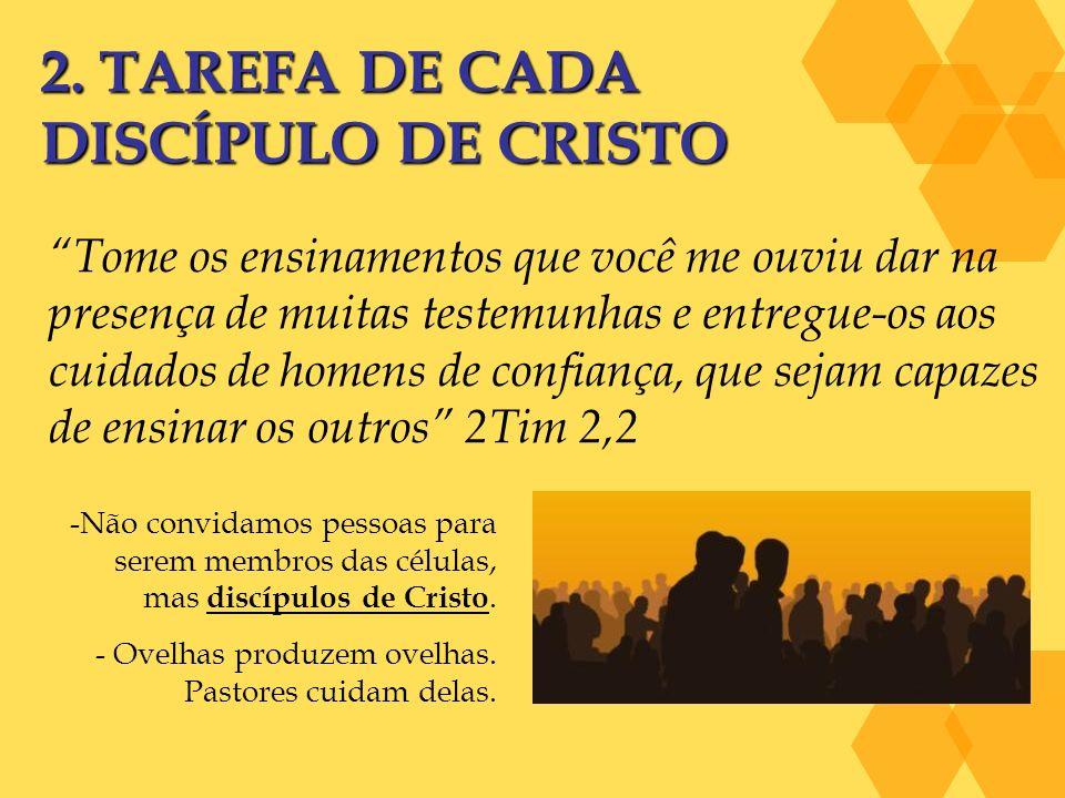 2. TAREFA DE CADA DISCÍPULO DE CRISTO Tome os ensinamentos que você me ouviu dar na presença de muitas testemunhas e entregue-os aos cuidados de homen