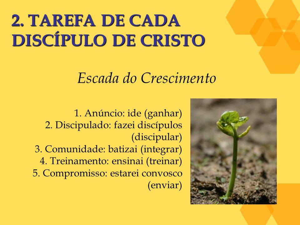 2. TAREFA DE CADA DISCÍPULO DE CRISTO Escada do Crescimento 1. Anúncio: ide (ganhar) 2. Discipulado: fazei discípulos (discipular) 3. Comunidade: bati