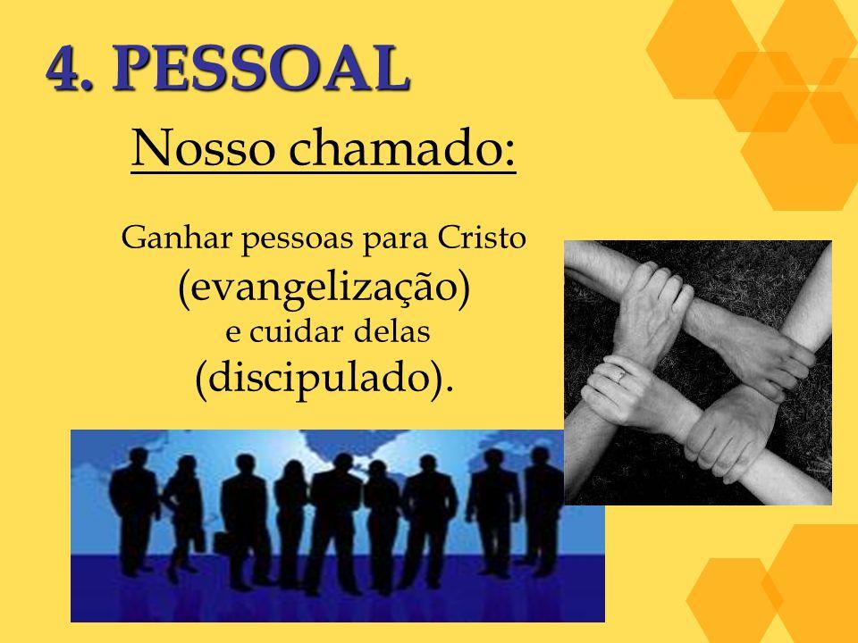 4. PESSOAL Nosso chamado: Ganhar pessoas para Cristo (evangelização) e cuidar delas (discipulado).
