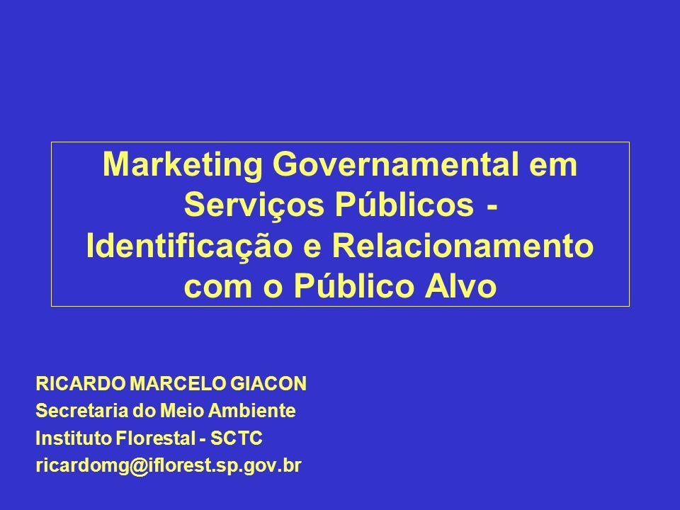 Marketing Governamental em Serviços Públicos - Identificação e Relacionamento com o Público Alvo RICARDO MARCELO GIACON Secretaria do Meio Ambiente In
