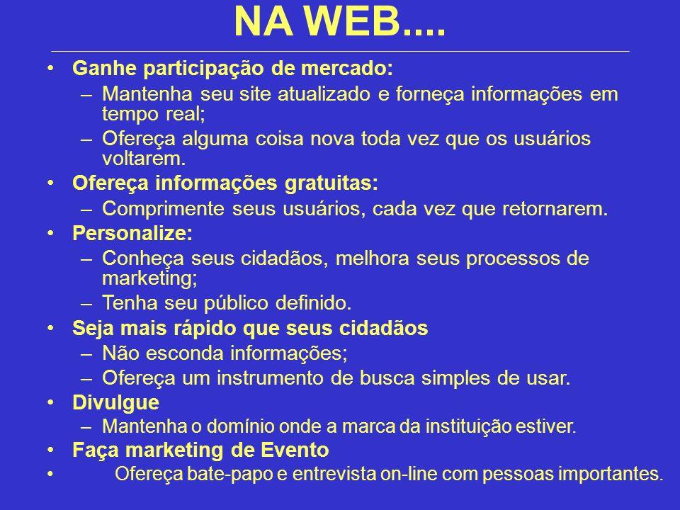 Ganhe participação de mercado: –Mantenha seu site atualizado e forneça informações em tempo real; –Ofereça alguma coisa nova toda vez que os usuários