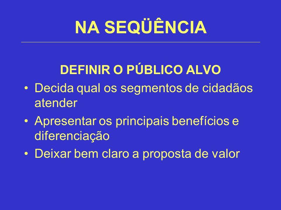NA SEQÜÊNCIA DEFINIR O PÚBLICO ALVO Decida qual os segmentos de cidadãos atender Apresentar os principais benefícios e diferenciação Deixar bem claro