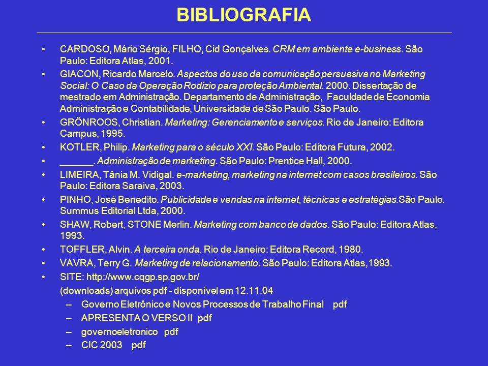 BIBLIOGRAFIA CARDOSO, Mário Sérgio, FILHO, Cid Gonçalves. CRM em ambiente e-business. São Paulo: Editora Atlas, 2001. GIACON, Ricardo Marcelo. Aspecto