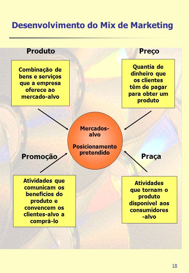 18 Mercados- alvo Posicionamento pretendido Combinação de bens e serviços que a empresa oferece ao mercado-alvo Quantia de dinheiro que os clientes tê