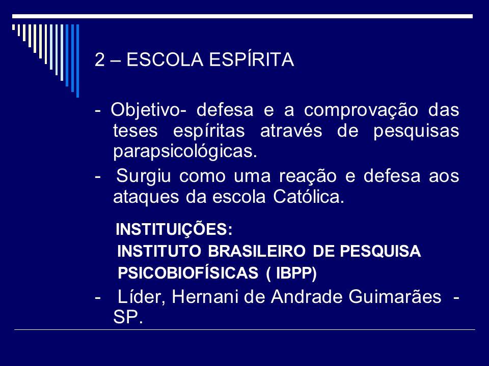 2 – ESCOLA ESPÍRITA - Objetivo- defesa e a comprovação das teses espíritas através de pesquisas parapsicológicas.