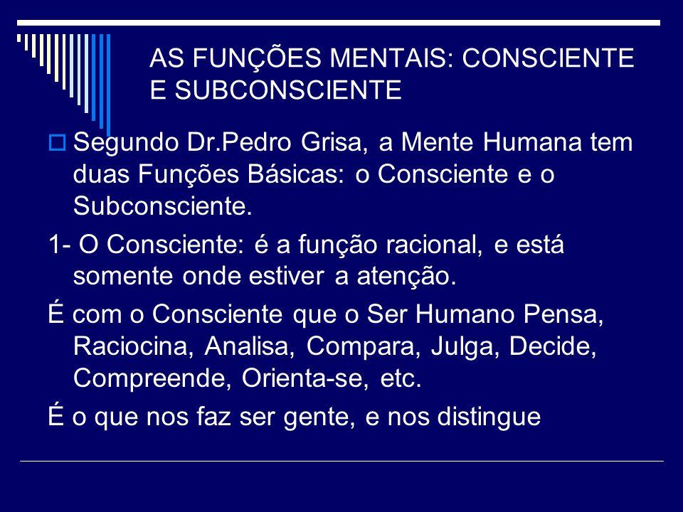 AS FUNÇÕES MENTAIS: CONSCIENTE E SUBCONSCIENTE Segundo Dr.Pedro Grisa, a Mente Humana tem duas Funções Básicas: o Consciente e o Subconsciente.
