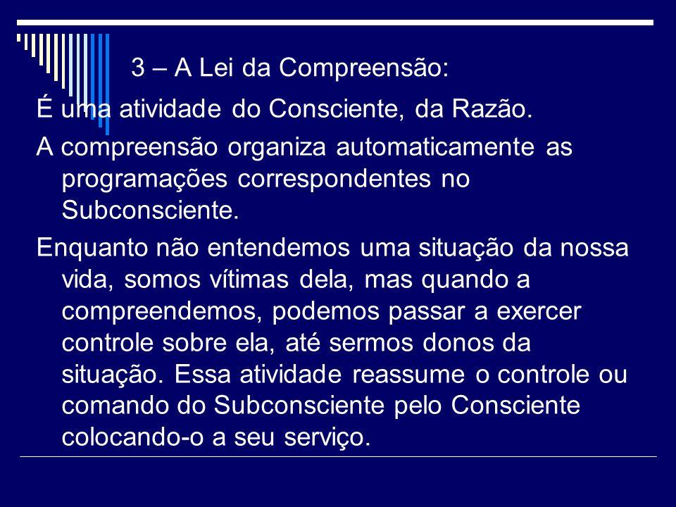 3 – A Lei da Compreensão: É uma atividade do Consciente, da Razão.