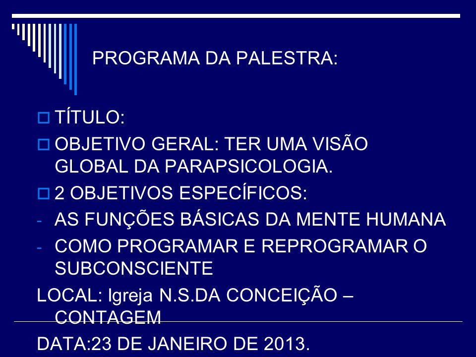 PROGRAMA DA PALESTRA: TÍTULO: OBJETIVO GERAL: TER UMA VISÃO GLOBAL DA PARAPSICOLOGIA.