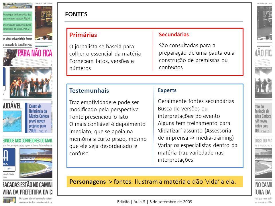 FONTES Primárias O jornalista se baseia para colher o essencial da matéria Fornecem fatos, versões e números Secundárias São consultadas para a prepar