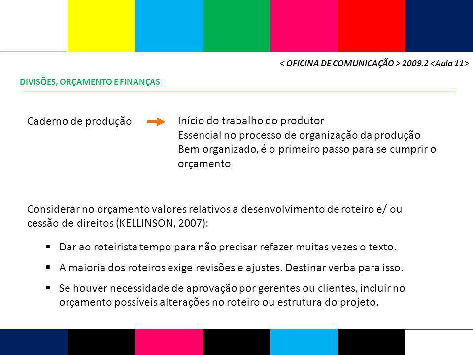 DIVISÕES, ORÇAMENTO E FINANÇAS 2009.2 Caderno de produção Início do trabalho do produtor Essencial no processo de organização da produção Bem organiza
