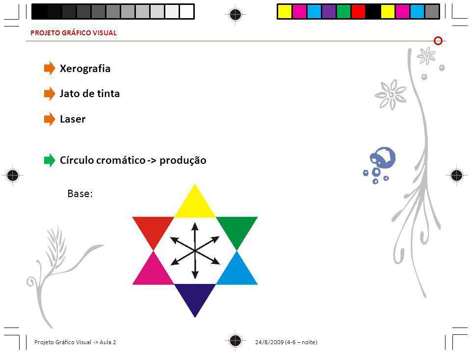 PROJETO GRÁFICO VISUAL Projeto Gráfico Visual -> Aula 2 24/8/2009 (4-6 – noite) Xerografia Jato de tinta Laser Círculo cromático -> produção Base: