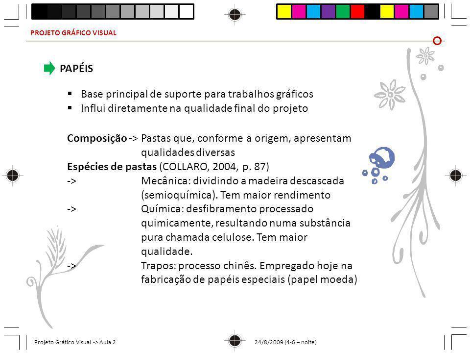 PROJETO GRÁFICO VISUAL Projeto Gráfico Visual -> Aula 2 24/8/2009 (4-6 – noite) PAPÉIS Base principal de suporte para trabalhos gráficos Influi direta