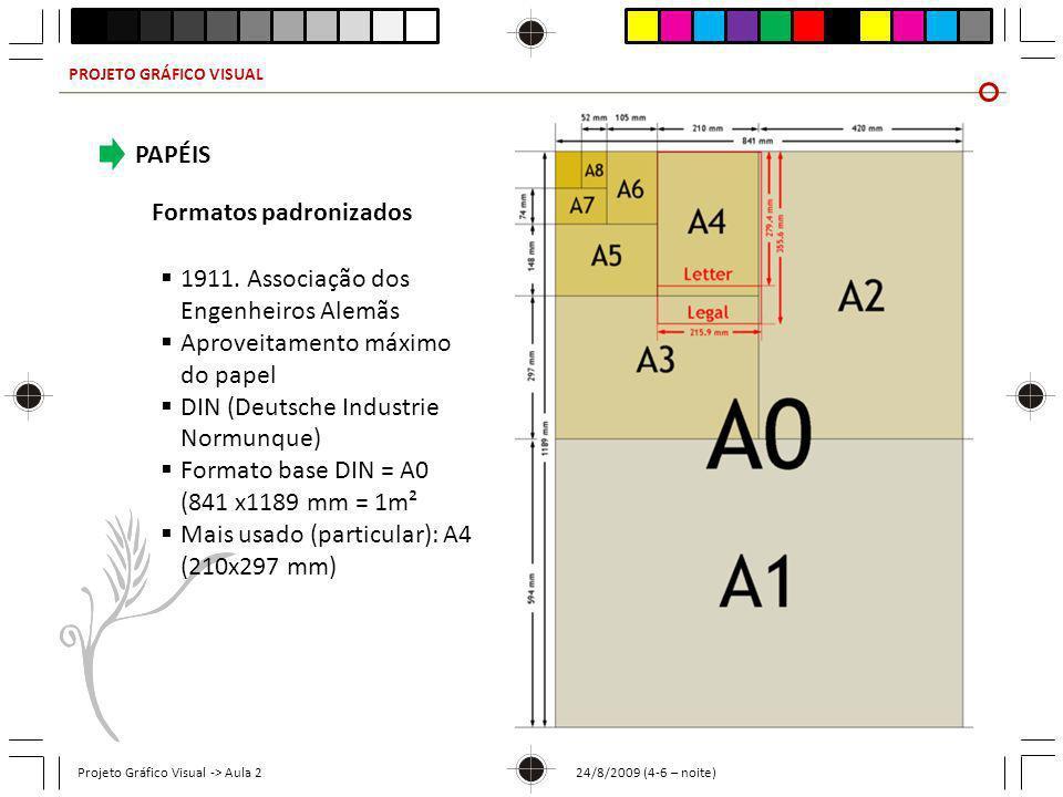 PROJETO GRÁFICO VISUAL Projeto Gráfico Visual -> Aula 2 24/8/2009 (4-6 – noite) PAPÉIS Formatos padronizados 1911. Associação dos Engenheiros Alemãs A