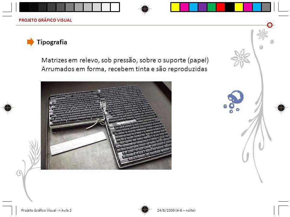 PROJETO GRÁFICO VISUAL Projeto Gráfico Visual -> Aula 2 24/8/2009 (4-6 – noite) Tipografia Matrizes em relevo, sob pressão, sobre o suporte (papel) Ar