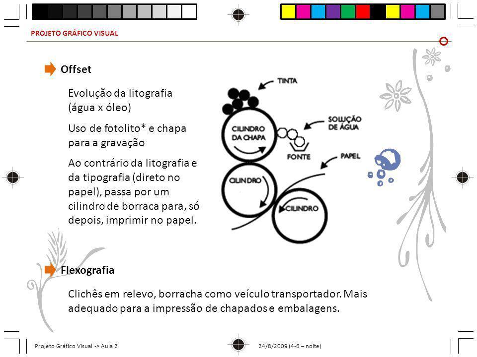 PROJETO GRÁFICO VISUAL Projeto Gráfico Visual -> Aula 2 24/8/2009 (4-6 – noite) Offset Evolução da litografia (água x óleo) Uso de fotolito* e chapa p