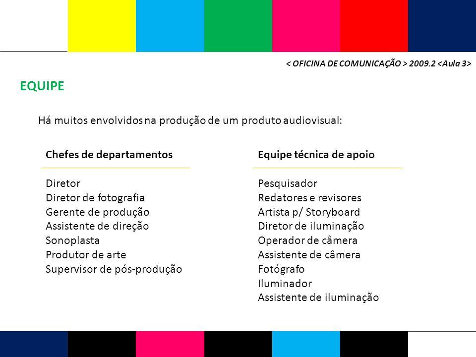 EQUIPE 2009.2 Há muitos envolvidos na produção de um produto audiovisual: Chefes de departamentos Diretor Diretor de fotografia Gerente de produção As